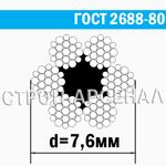 Канат стальной ГОСТ 2688-80 / 7,6 мм
